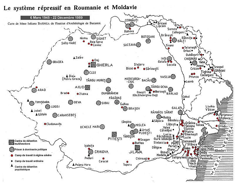 Carte des prisons en Roumanie
