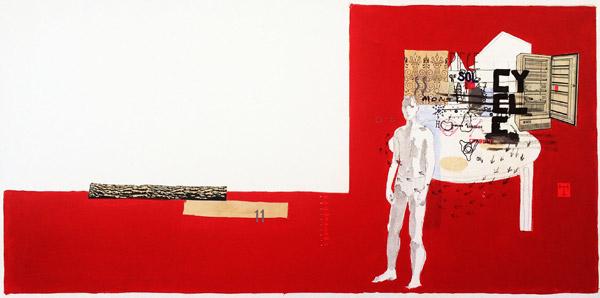 INV RIDER - Toma Jankowski, technique mixte sur toile, 40 x 70 cm.