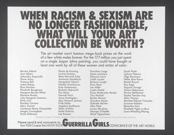 Oeuvre de Guerrilla Girls.