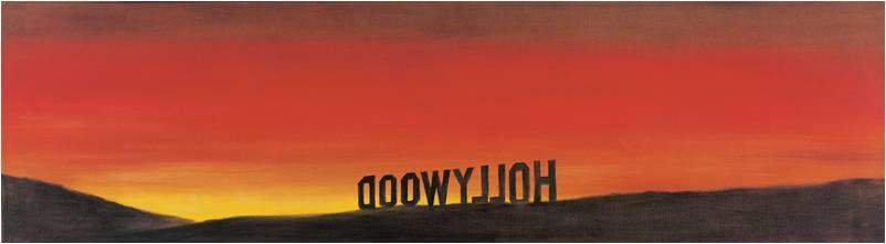 Ed Ruscha, Th e Back of Hollywood, 1977. Huile sur toile, collection MAC Lyon.
